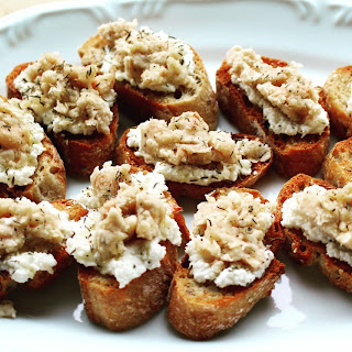 Crostini with Beans, Ricotta, Honey and Thyme.