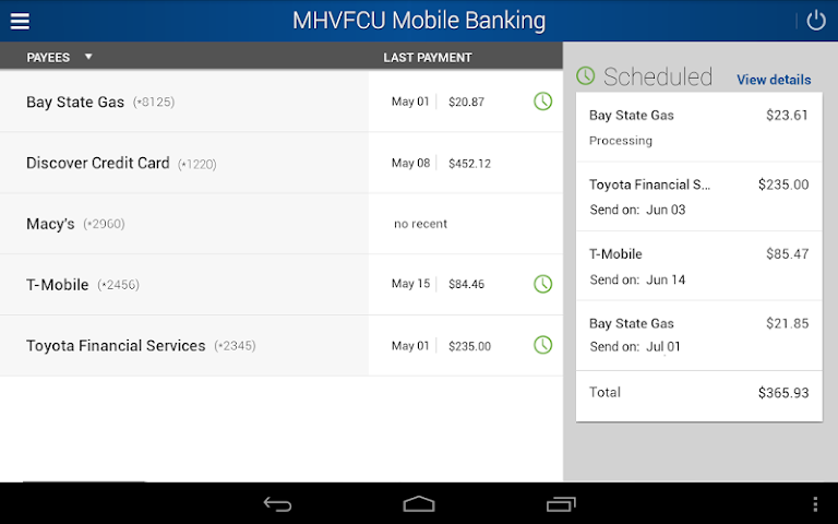 android MHV Mobile Banking Screenshot 8