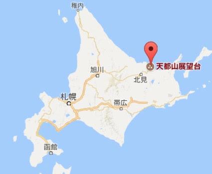 地図:天都山展望台・オホーツク流氷館