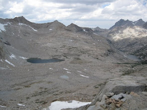 Photo: View looking North from Mather Pass (12100'), back toward Palisade Lake.  It looked like rain and I hurried down the S side of the pass.  There was a little drizzle near the pass but nothing more till about 4 pm when it started raining and rained almost all night.