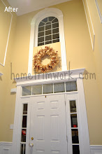 Photo: (After) Foyer front door and window trim Front door: Fluted sides with header Window: Fluted side with Flat Arch & Keystone Friend Job