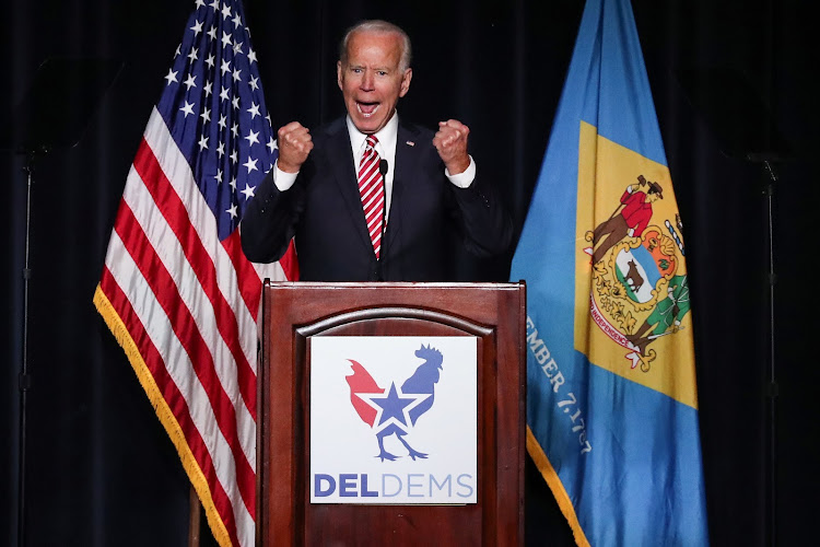 Former US vice president Joe Biden delivers remarks at the First State Democratic Dinner in Dover, Delaware, US on March 16 2019.