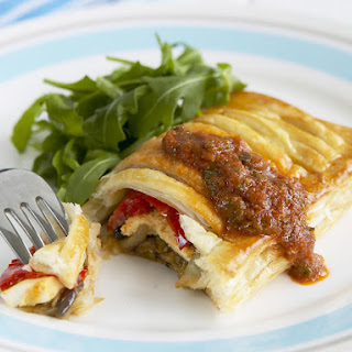 Vegetable Pastry Pockets with Mint Sauce