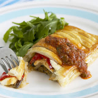 Vegetable Pastry Pockets with Mint Sauce.