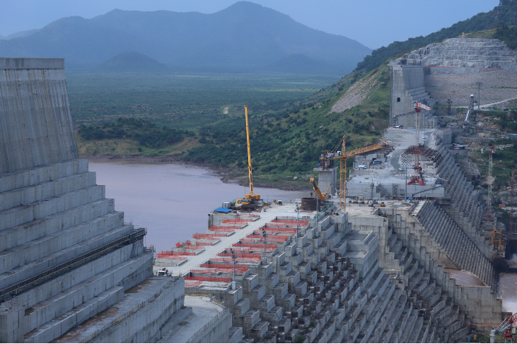 Ethiopia's Grand Renaissance Dam is seen as it undergoes construction work on the river Nile in Guba Woreda, Benishangul Gumuz Region, Ethiopia September on 26 2019.