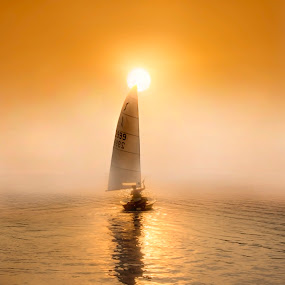 Sailing into the Unknown by Adrian Campfield - Landscapes Sunsets & Sunrises ( reflections, transportation, yellow, people, sky, transport, dark, weather, ships, gold, light, misty, black, sailing boats, water, clouds, orange, saliors, white, sport, vessels, shadows, yachts, foggy, dawn, red, amber, silhouettes, sunrise, river thames,  )