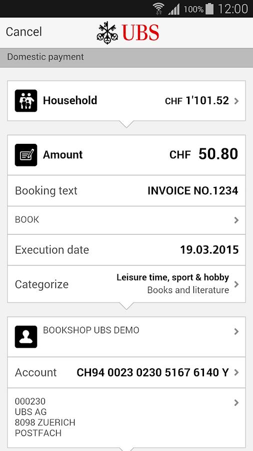UBS Mobile Banking - screenshot