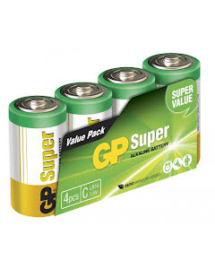 Super Alkaline C-batteri, 14A/LR14, 4-pack
