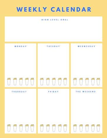 Weekly Calendar Bottles - Weekly Calendar template