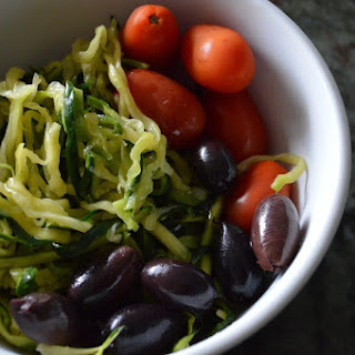Cold Zucchini Noodle Salad with Tomato and Olives