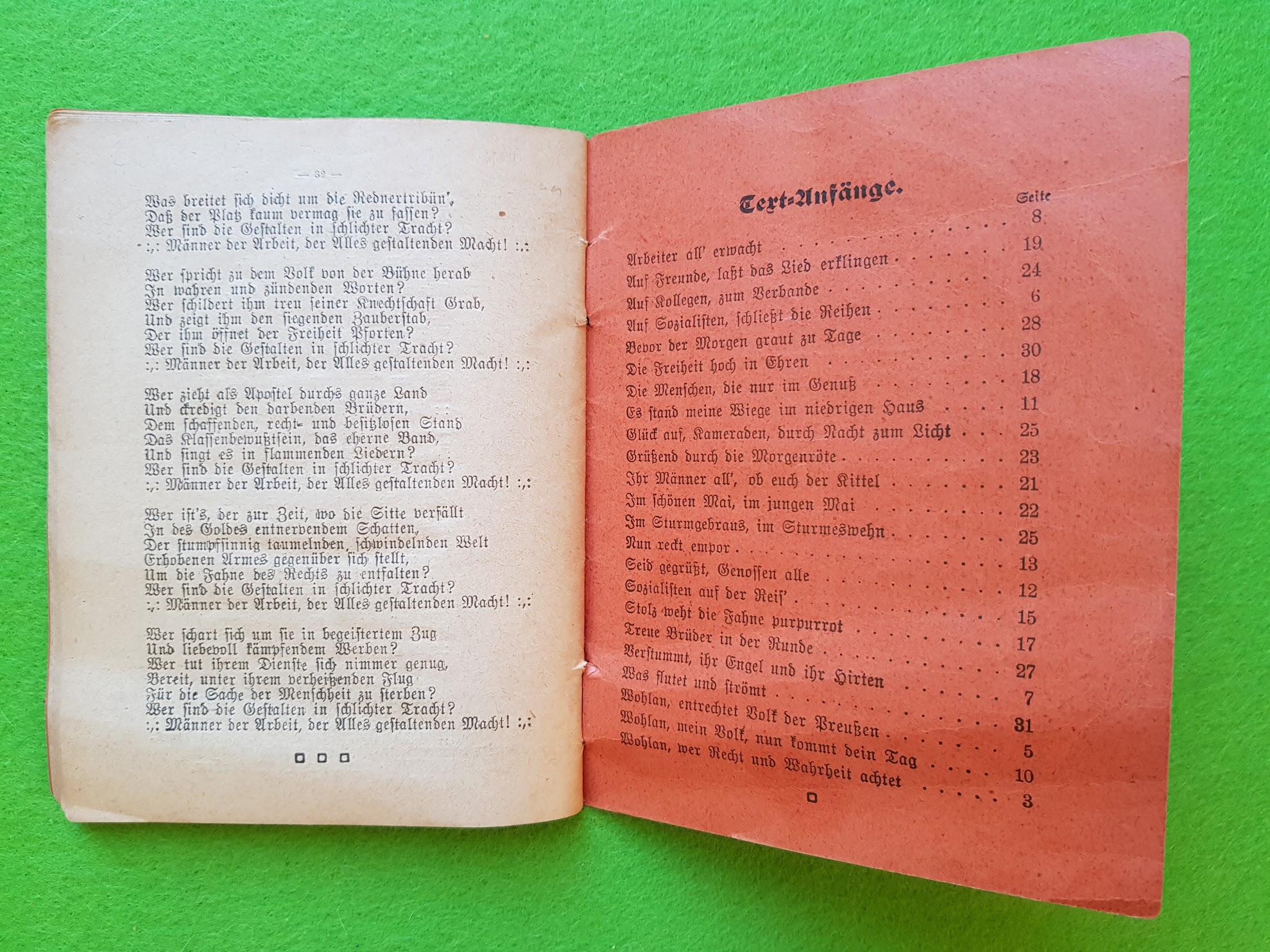 Arbeiter Liederbuch für Massengesang, 1910 - Inhaltsverzeichnis mit Liedanfängen