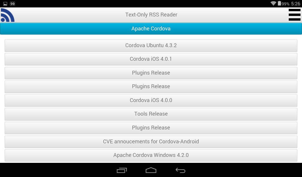 Text-Only RSS Reader- screenshot