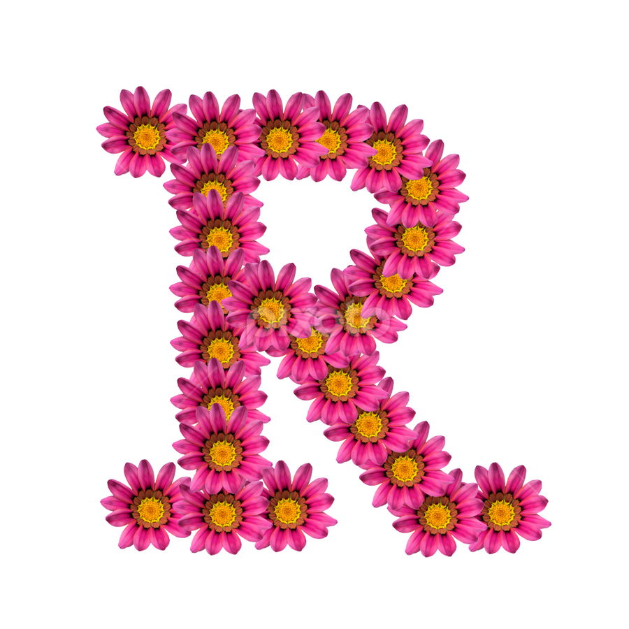 Alphabet - R by Dipali S - Typography Single Letters ( template, graphic, flora, decoration, letter, font, art, advertisement, type, sign, nature, r, quote, background, artistic, pink, flowers, design, floral )