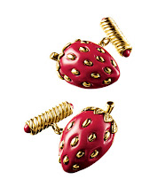 Photo: VENDURA Exclusively ours. Strawberry gold-and-coral cufflinks. $11,500. USA. First Floor, The Men's Store. 212 339 3290