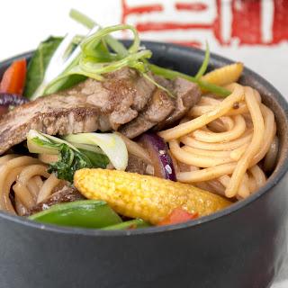 Eye Fillet Steak with Ramen Noodles.