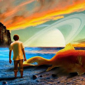 Beached Goldfish by Charlie Alolkoy - Illustration Sci Fi & Fantasy ( sunset, fish, ocean, beach, goldfish )