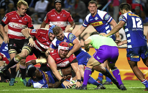 Arm's reach: Lions hooker Corne Fourie goes over for one of his two tries against the Stormers on Saturday. Picture: CHRIS RICCO/BACKPAGEPIX