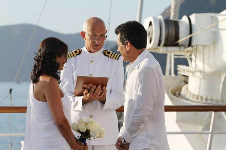 A Vows Ceremony performed by the captain on the Wind Star.