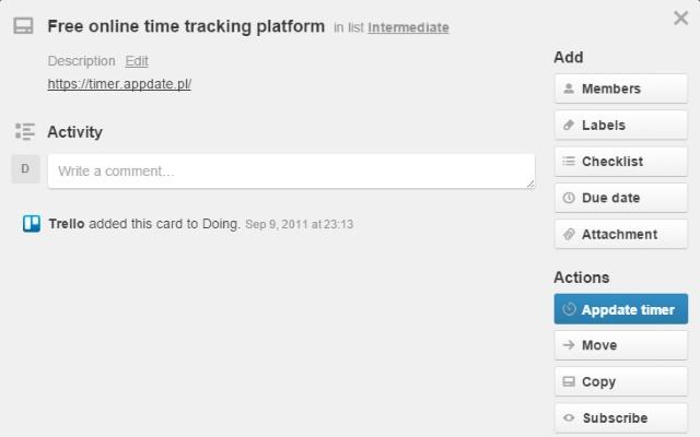 Appdate Timetracker - extension for Trello
