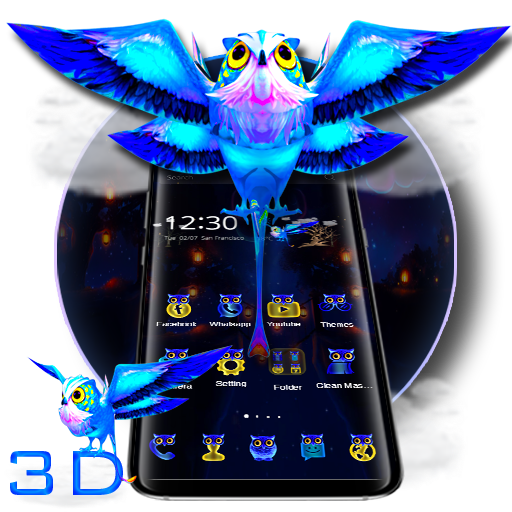3D Neon Owl Theme