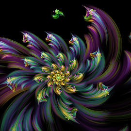 Flower 51 by Cassy 67 - Illustration Abstract & Patterns ( digital, love, harmony, surreal, abstract art, trippy, abstract, creative, fractals, digital art, flower, psychedelic, bloom, modern, light, fractal, style, energy, fashion )