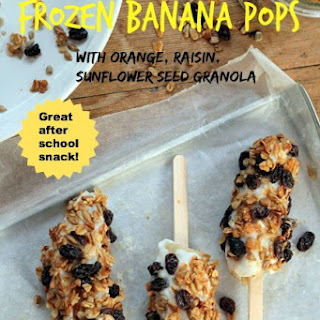 Frozen Banana Pops with Orange, Raisin, Sunflower Seed Granola