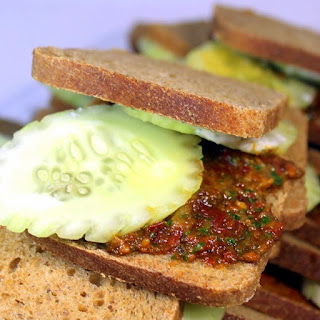 Cucumber Tea Sandwich with Sun Dried Tomato Pesto