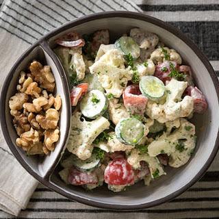 Raw Cauliflower Salad with Mustard Dill Dressing