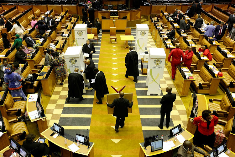 Voting stations are set up during the Tuesday's motion of no confidence against President Jacob Zuma in Cape Town. Picture: REUTERS