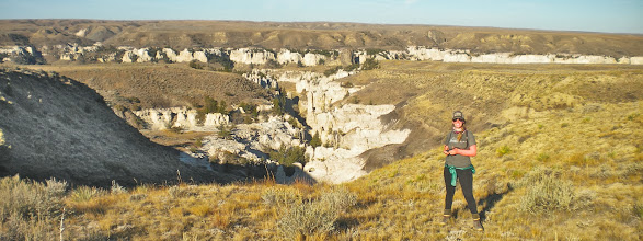 Photo: Above Neat Coulee - LaBarge Rock along river in distance