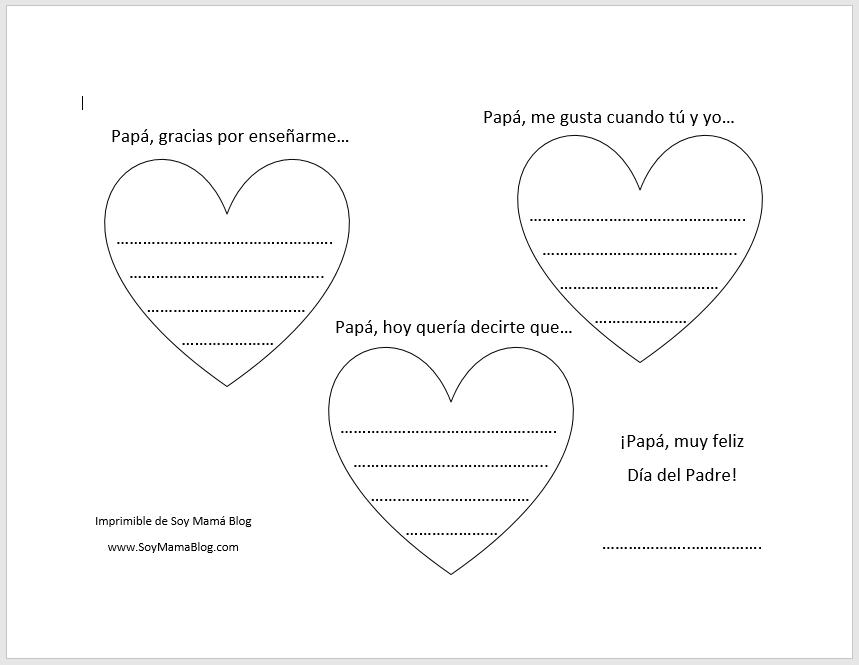 """Día del Padre en Soy Mamá Blog: Imprimibles """"Corazones para papá"""""""