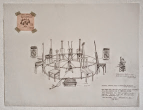 Photo: musical chairs, roto-picker (for 8 chairs and channels) concept drawing 23.5 x 18 in. 2005  http://www.ethanpettitgallery.com