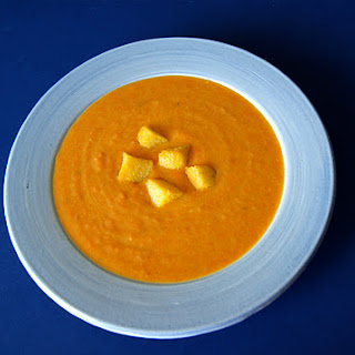 Roasted Carrot and Parsnip Soup with Polenta Croutons