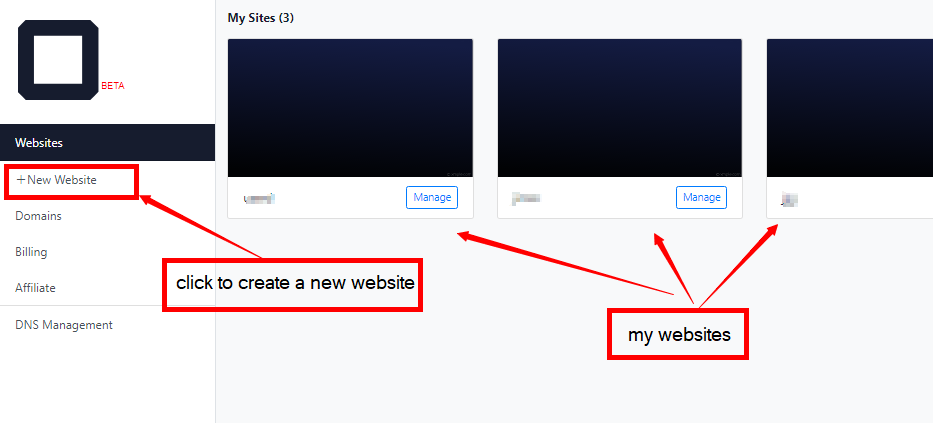 create a new website