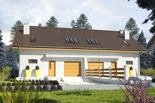 projekt Radosna z garażem 1-st. bliźniak A-BL1