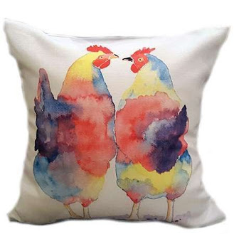 Printed Cushion with Chickens