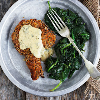 Crispy Breaded Pork Chops with Mustard Sauce.