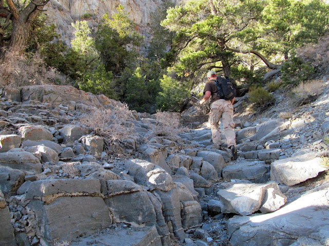 Climbing the upper side canyon