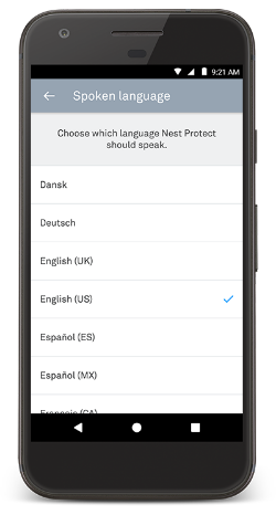 Spoken language settings