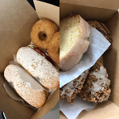 We have lemon loaf, sugar donuts, cin sugar coffee cake, strawberry lime eclairs and not in picture plain bagel