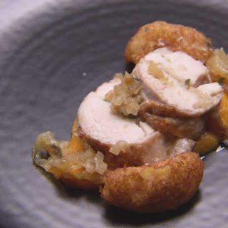 Chicken Roulade with Pumpkin Puree, Caramelised Onion and Pommes Dauphine