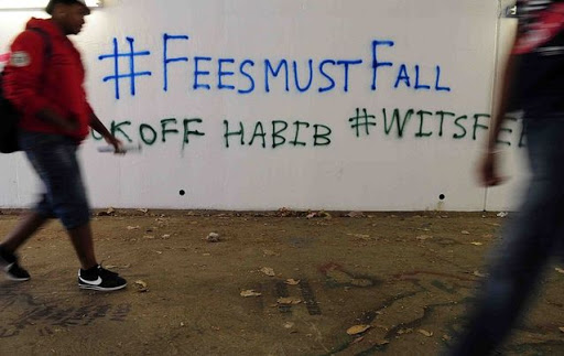 Graffiti on the walls of the University of the Witwatersrand in Johannesburg during the #FeesMustFall  protests. Picture: SOWETAN