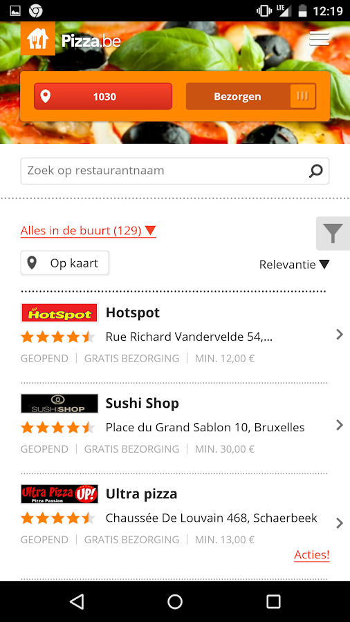 Pizza.be - Order food online - screenshot