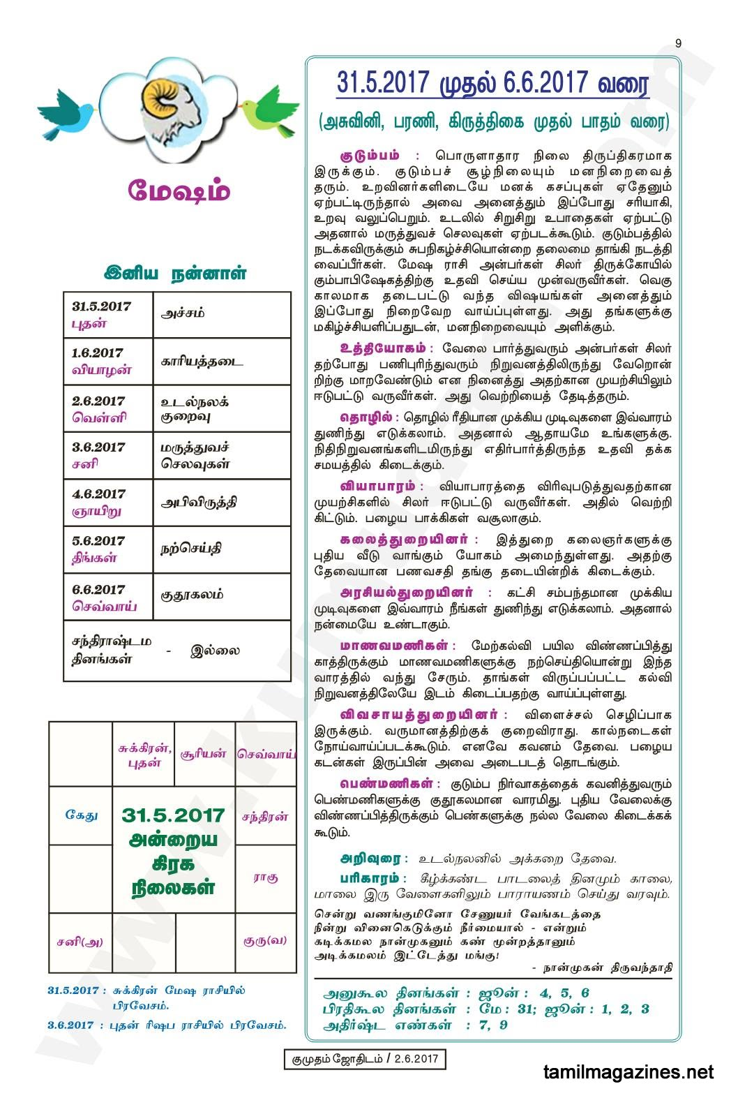 Kumudam Jothidam Raasi Palan May 31 to June 6, 2017