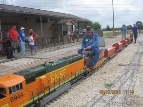 Photo: BNSF 9944 gains a new engineer: Pete Greene.  HALS 2012-0818 David Hannah photo