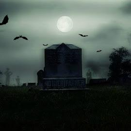 Haunted Graveyard by Karen Carter Goforth - Public Holidays Halloween ( bats, graveyard, halloween, moon, ghost, haunted,  )