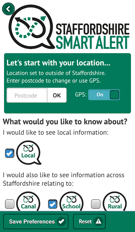 Staffordshire Smart Alert- screenshot