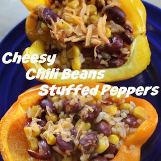 Cheesy Chili Beans Stuffed Peppers