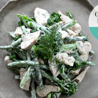 Yoghurt Dill Chicken With Green Beans And Broccolini.