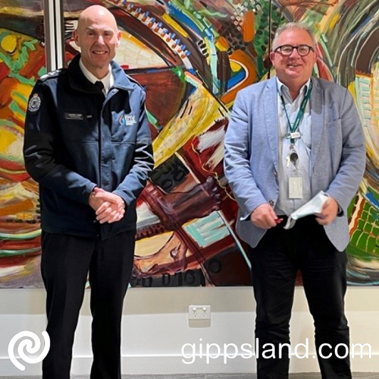 Victorian Emergency Management Commissioner Andrew Crisp and Baw Baw Shire Council CEO Mark Dupe met in Warragul to discuss local impacts in Baw Baw and the need for support